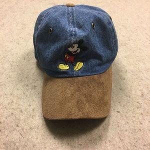 Vtg Disney World Mickey Mouse Denim Baseball Cap